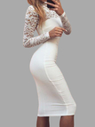 Long Sleeves Lace Insert Bodycon Midi Dress in White
