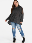 Plus Size Grey Cut Out Rivet Detail Blouse