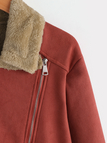 Rust Zip Design Lapel Collar Fluffy lining Coat without Belt
