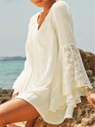 Beige Lace Trim V-neck Flared Long Sleeves Loose Fit Dress