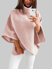 Pink Chimney Collar Flared Sleeves Irregular Hem Sweater