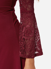 Burgundy Lace Insert High Low Hem Dress