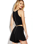 Sleeveless Cut Out Details Crop Top and Shorts Co-ord with Zip Back Fastening