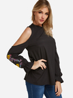 Black Cut Out Embroidered Cold Shoulder Long Sleeves Blouses