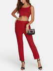 Red Round Neck Sleeveless Top And Long Knitted Trousers Two Piece Outfits