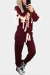 Burgundy Casual Two Piece Outfits Sweatshirt with Lace-Up Details