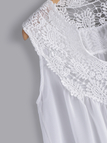 Plus Size White Lace Insert V-neck Tank