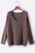 Coffee Low-cut V Neck Loose Plunge Sweaters