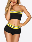 Black Tube Top & Hot Pants Stripe Two-piece Outfit