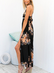 Random Floral Print Slit Front Halter Neck Maxi Dress