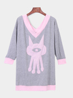 Grey Cartoon Pattern V-neck Long Sleeves Hoodie Dress