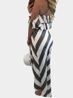 Dark Grey Stripe Crop Top & Slit Midi Skirts Co-ord