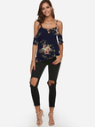 Navy Adjustable Shoulder Straps Floral Print V-neck Sleeveless Blouse