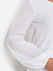 White Tiered Design Round Neck Lantern Sleeves Blouse With High-low Hem