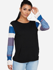 Black Stripe Round Neck Long Sleeves Big Pocket Sweatshirt