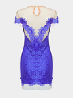 Blue Open Back Mini Party Dress with Lace