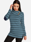 Green Button Design Stripe Asymmetrical Long Sleeves Sweatshirts