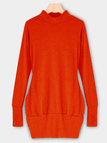 Orange Roll Neck Casual Dress with Two Side Pockets