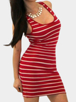 Red Stripes Sleeveless Mini Dress