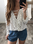 White Wave Point Lace-up V-neck Long Sleeves Chiffon Blouse