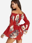 Red Sexy Off The Shoulder Random Floral Print Playsuit