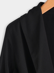 Sexy Black Crossed Front Deep V Neck Adjustable 3/4 Length Sleeves Blouses