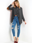 Grey Button Crossed Front Design Patch On Elbow Long Sleeves  Irregular Hem Coat