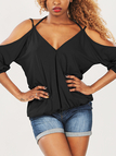 Black Cold Shoulder 3/4 Length Sleeves Blouse