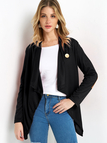 Black Button Crossed Front Design Patch On Elbow Long Sleeves  Irregular Hem Coat