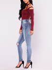 Burgundy Sexy Cold Shoulder Long Sleeves Cut Out Bodysuit