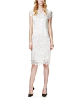 White Lace Mini Party Dress with V Neck