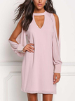 Pink V-neck Cold Shoulder Long Sleeves Chiffon Dress