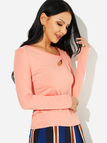 Pink Cut Out One Shoulder Long Sleeves T-shirt
