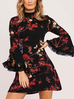 Black Random Floral Print Flared Sleeves With Mesh Cuff Details Mini Dress