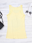 Yellow Disk Letter Pattern Round Neck Casual Tank Top