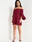 Burgundy Backless Off Shoulder Ruffle Sleeves Dress