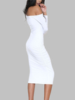 White One Shoulder Long Sleeves Midi Dress
