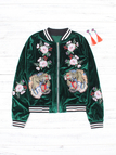 Green Zip Design Tiger Embroidered Long Sleeves Outerwear