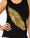 Black Tank Top With Random Leaf Printing