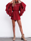 Red Sexy Off Shoulder Playsuit With Bat Sleeves