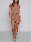 Khaki Round Neck Self-tie Design Mini Dress
