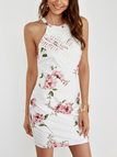 White Halter Random Floral Print Mini Dress