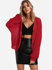 Red Button Design Long Sleeves Knit Cardigan