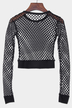 Black Mesh Hollow Out Round Neck Crop Top