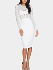 White Delicate Lace Insert Bodycon Midi Dress