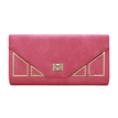 Geo Metal Embellished Leather-look Clutch Bag in Fuchsia with Shoulder Strap