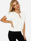 White Cut Out Round Neck Short Sleeves Top