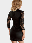 Black Lace Insert Long Sleeves Mini Dresses with Cut Out Design