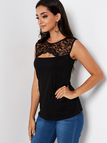 Black Round Neck Cut-out Design Lace Insert Tank Top
