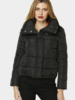 Black Crew Neck Causal Padded Outerwear